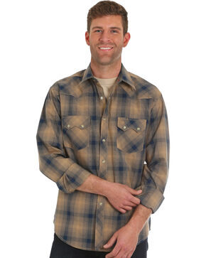 Wrangler Retro Men's Brown Plaid Western Shirt , Brown, hi-res