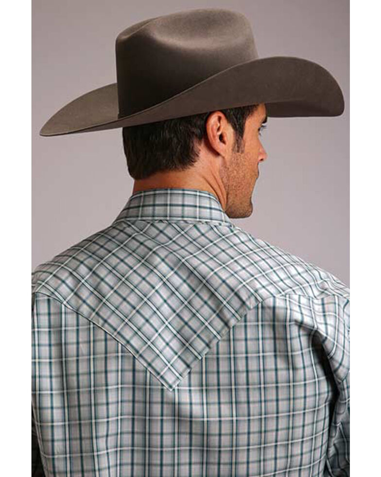 Stetson Men's Mist Check Plaid Long Sleeve Western Shirt , Blue, hi-res