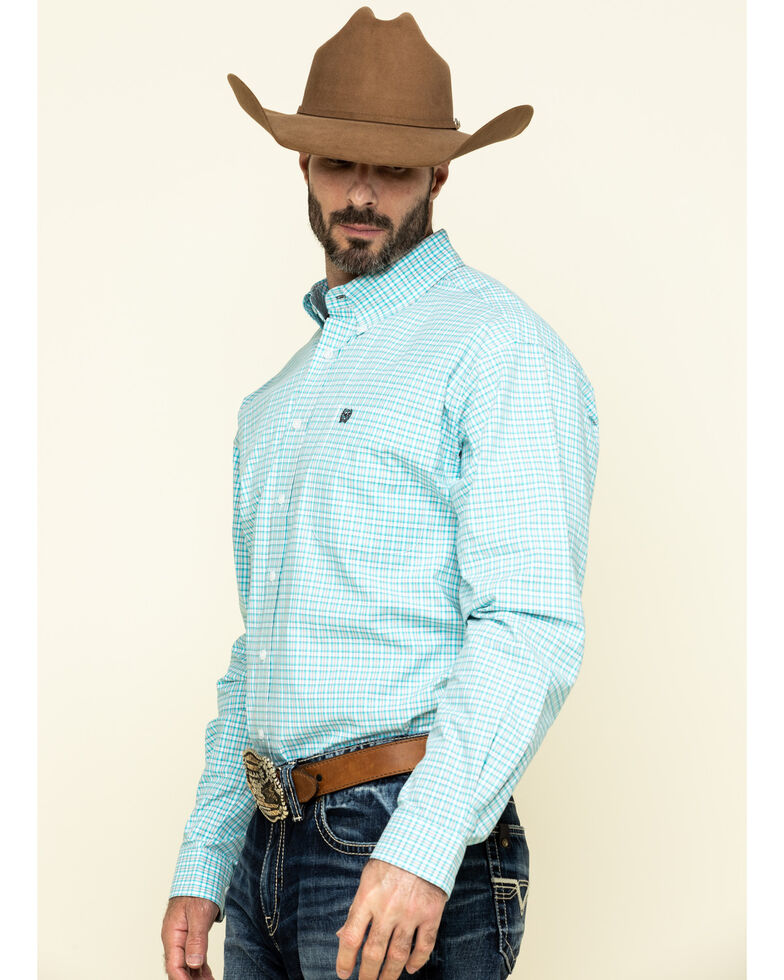 Cinch Men's White Small Plaid Weave Button Long Sleeve Western Shirt , White, hi-res