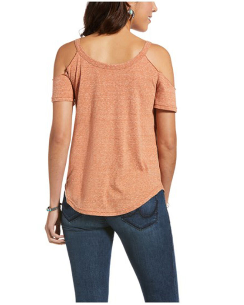 Ariat Women's Home On The Range Cold Shoulder Graphic Tee , Brown, hi-res