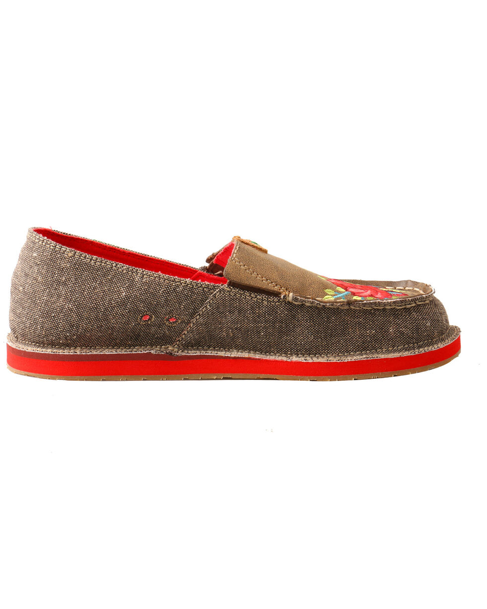 Twisted X Women's Floral Moccasin Loafers - Moc Toe, Grey, hi-res