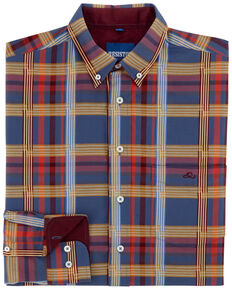 Resistol Men's Estill Plaid Long Sleeve Western Shirt , Dark Blue, hi-res