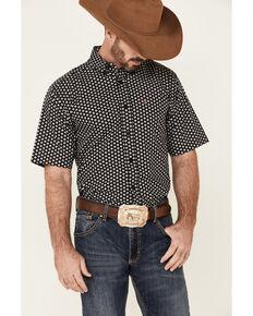 Ariat Men's French Stretch Geo Print Short Sleeve Button-Down Western Shirt - Tall, Black, hi-res