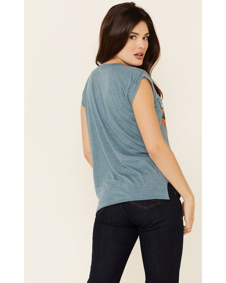 Rodeo Quincy Women's Poppy The Steer Graphic Short Sleeve Tee , Blue, hi-res