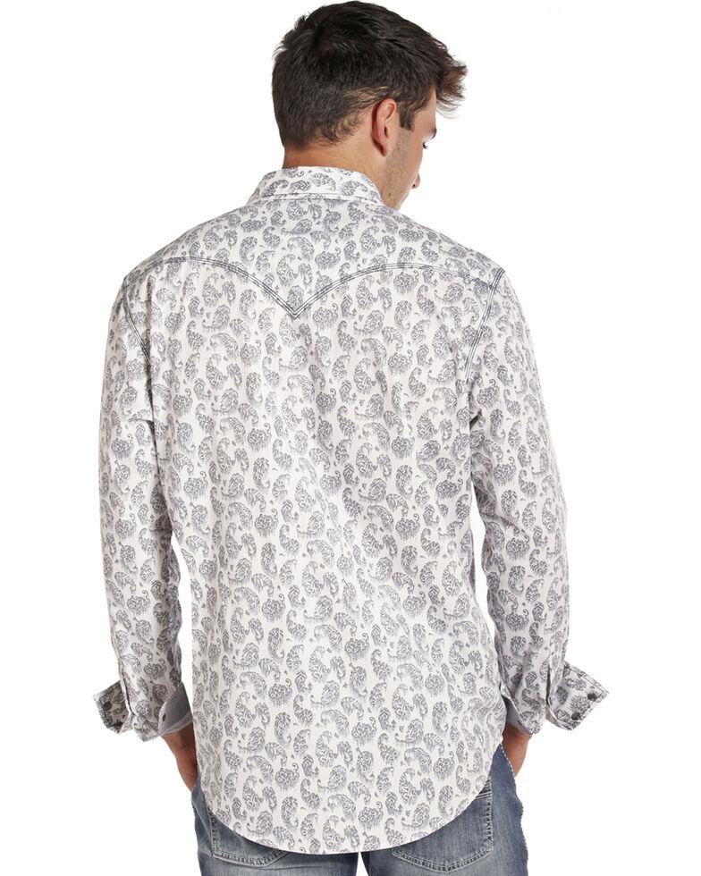 Rock & Roll Cowboy Men's Stone Washed Paisley Long Sleeve Shirt, White, hi-res