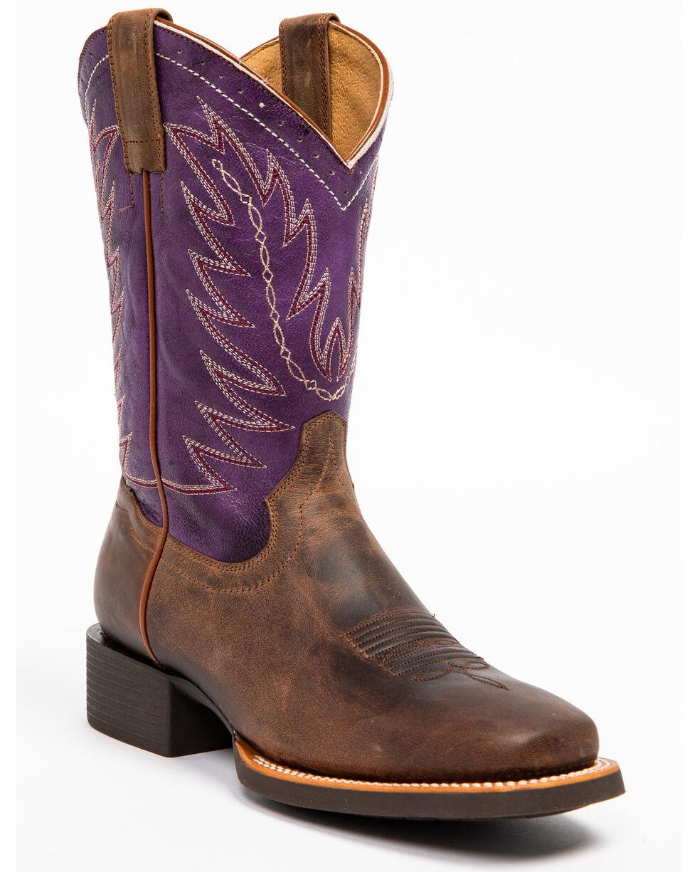 Shyanne Women's Purple Burnish Western Boots - Square Toe, Brown, hi-res