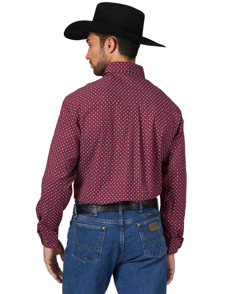 George Strait by Wrangler Men's Circle Geo Print Long Sleeve Western Shirt - Tall , Burgundy, hi-res