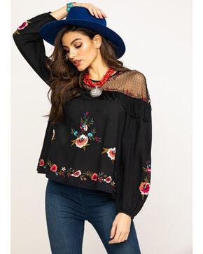 Wrangler Women's Floral Embroidered Mesh Yoke Top, Black, hi-res