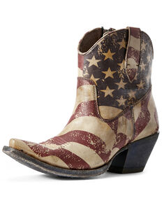 Ariat Women's Circuit Cruz Flag Print Western Booties - Snip Toe, Multi, hi-res