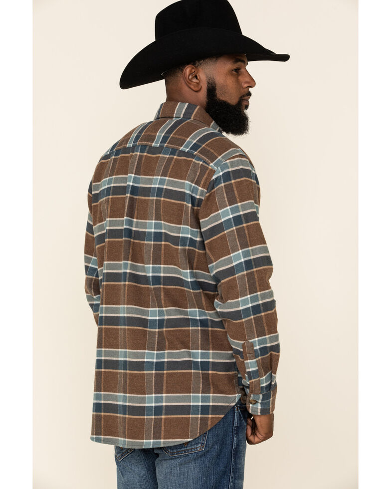 Pendleton Men's Burnside Double Brushed Plaid Long Sleeve Flannel Shirt , Brown, hi-res