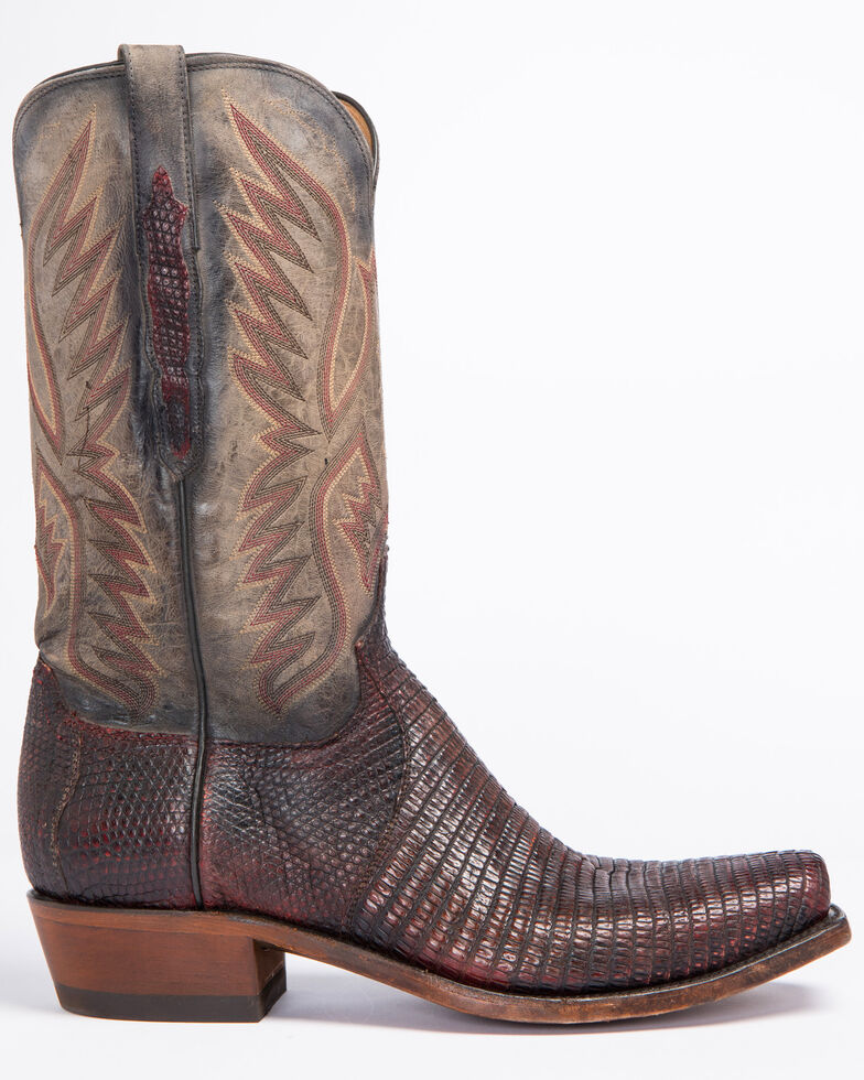 Lucchese Men's Handmade Miles Brown Lizard Western Boots - Snip Toe, Brown, hi-res