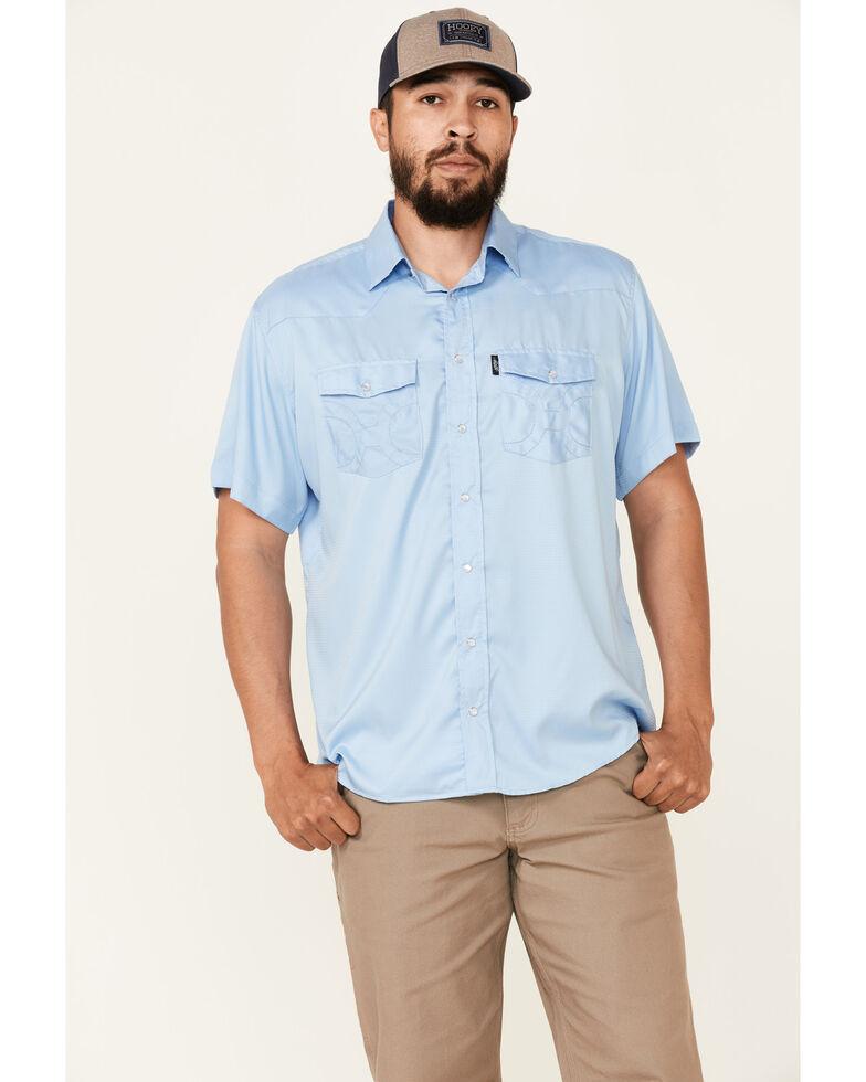 HOOey Men's Solid Blue Habitat Sol Short Sleeve Snap Western Shirt , Blue, hi-res