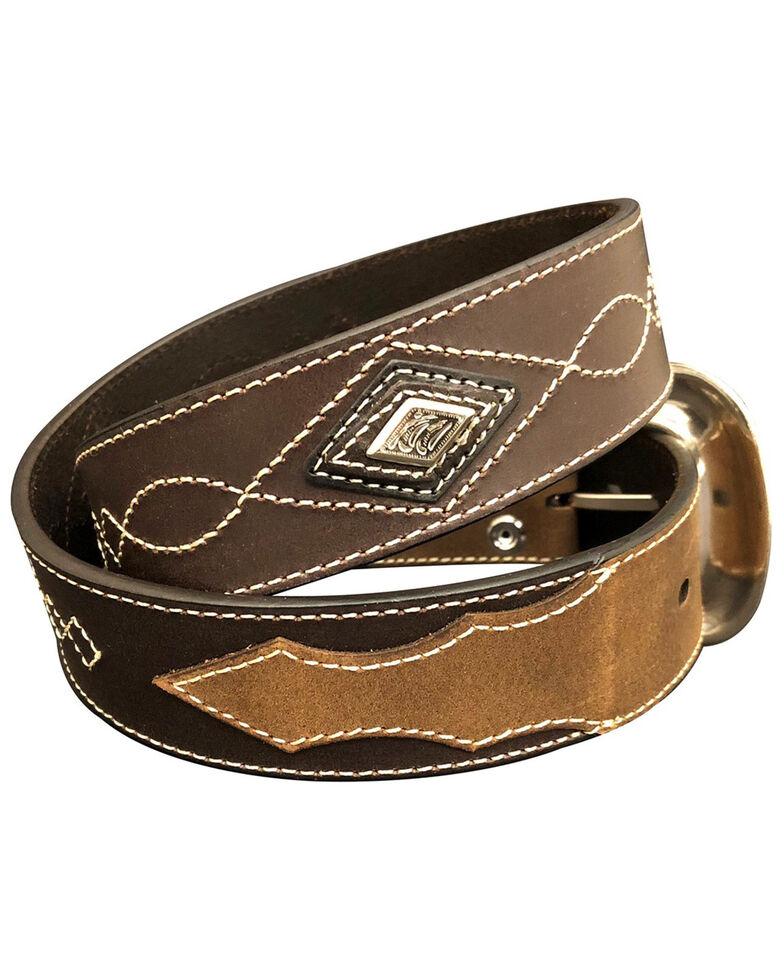 G-Bar-D Men's Brown Diamond Concho Leather Belt , Brown, hi-res