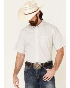 Cody James Core Men's Bryce Geo Print Short Sleeve Button-Down Western Shirt - Tall , Light Grey, hi-res