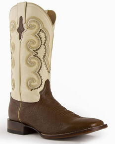 Ferrini Men's Smooth Quill Ostrich Exotic Boots - Square Toe , Kango, hi-res