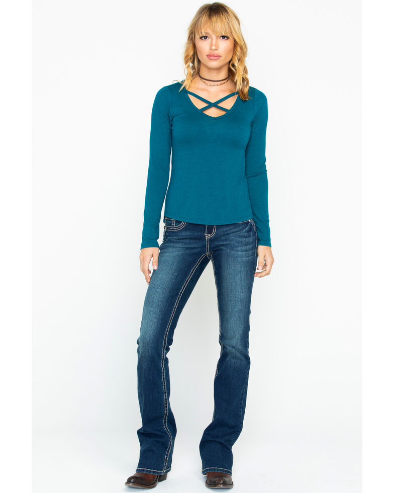 Shyanne Women's Cross Front Knit Top, Teal, hi-res