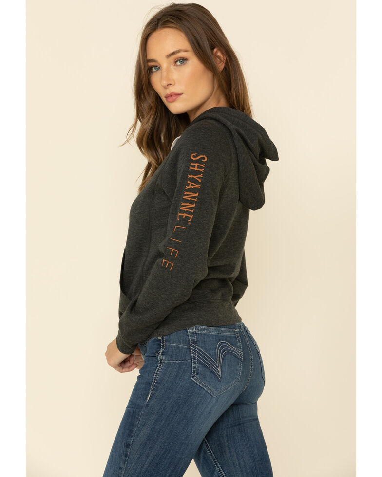 Shyanne Life Women's Charcoal Embroidered Sleeve Hooded Sweatshirt , Charcoal, hi-res