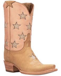 Lucchese Women's Estrella Western Boots - Snip Toe, Tan, hi-res