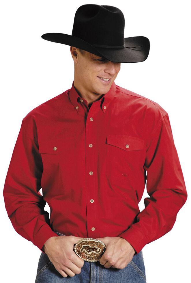 Roper Poplin Western Shirt - Big & Tall, Red, hi-res