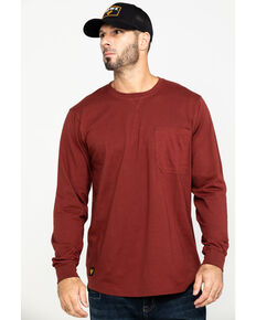 Hawx® Men's Red Pocket Long Sleeve Work T-Shirt , Red, hi-res
