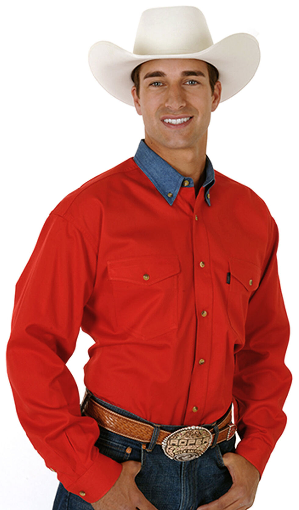 Roper Men's Red Twill with Denim Collar Long Sleeve Western Shirt, Red, hi-res