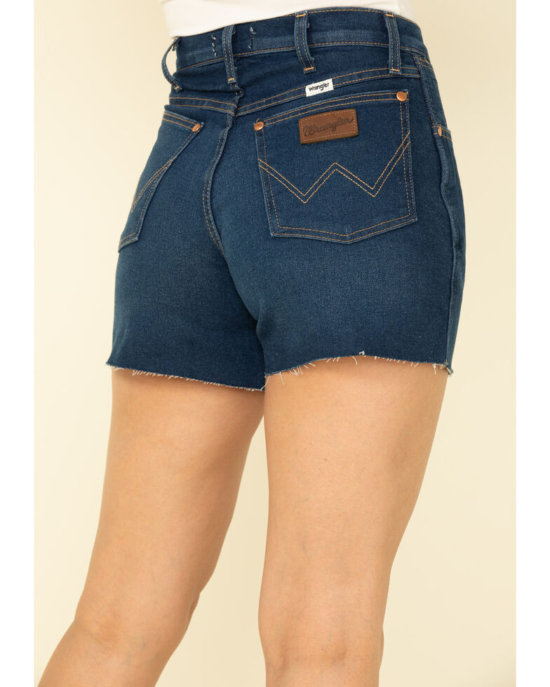 Wrangler Modern Women's Dark Wash Basic High Rise Raw Shorts , Blue, hi-res