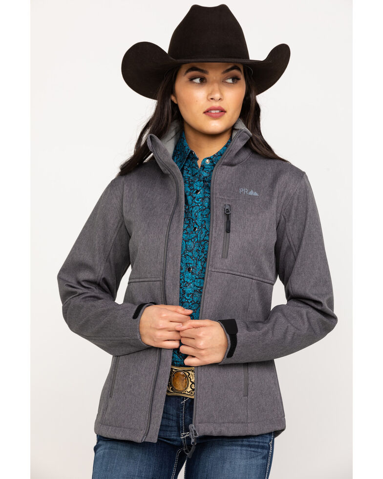 Powder River Outfitters Women's Melange Softshell Jacket, Charcoal, hi-res