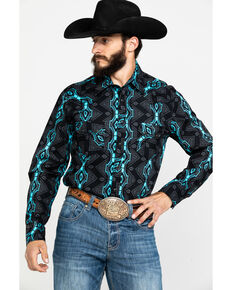 Rock & Roll Cowboy Men's Teal Vertical Aztec Print Long Sleeve Western Shirt , Teal, hi-res