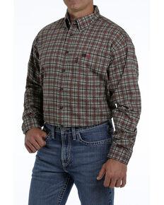 Cinch Men's FR Brown Plaid Lightweight Long Sleeve Work Shirt - Big , Brown, hi-res