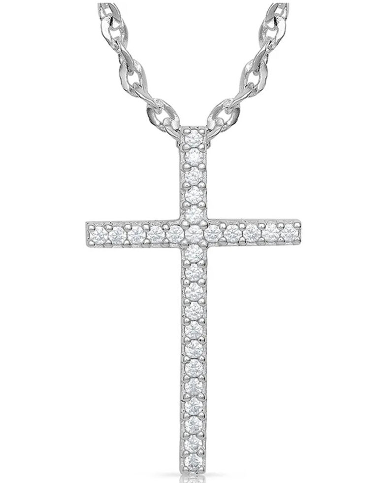 Montana Silversmiths Women's Dazzling In Faith Cross Necklace, Silver, hi-res