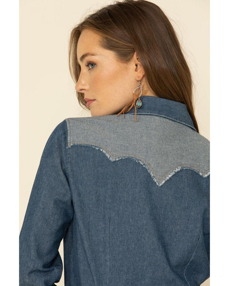 Ariat Women's Reverse Denim Long Sleeve Snap Western Shirt, Blue, hi-res