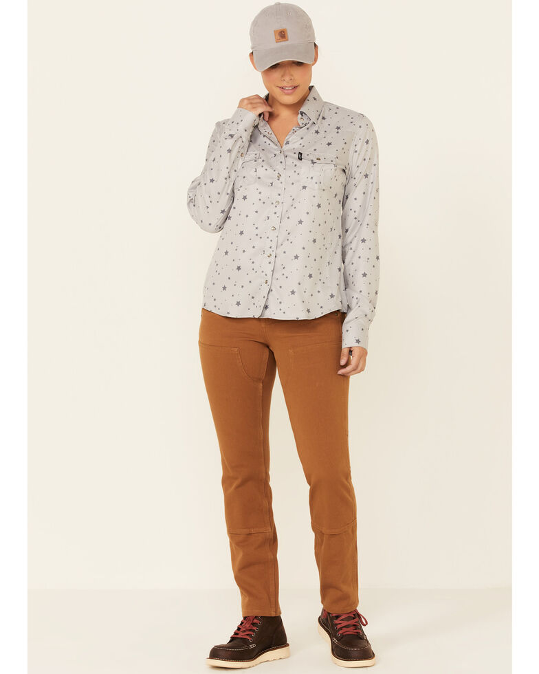 HOOey Women's Grey Star Print Habitat Sol Lightweight Long Sleeve Snap Western Core Shirt , Grey, hi-res