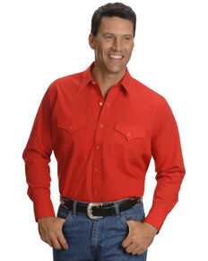 Ely Walker Men's Solid White Long Sleeve Western Shirt - Big & Tall , Red, hi-res
