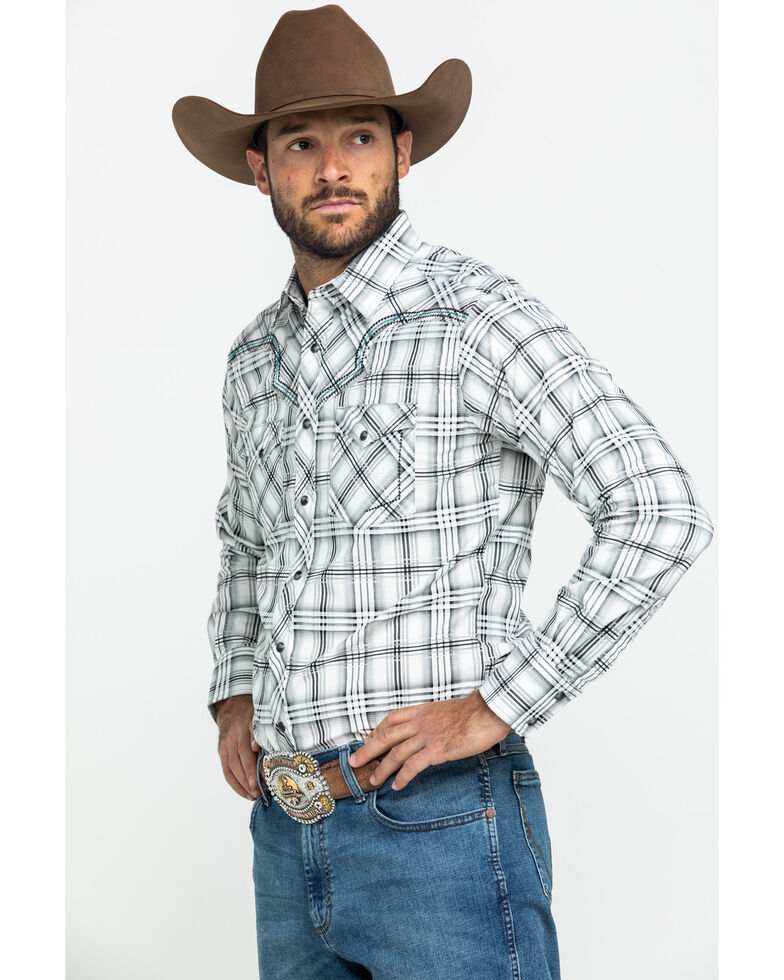 Rock 47 By Wrangler Men's Black Large Plaid Embroidered Long Sleeve Western Shirt , Black, hi-res