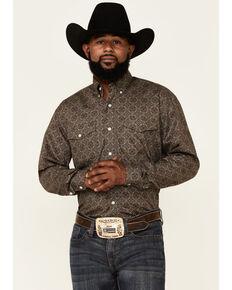 Roper Men's Pine Medallion Geo Print Long Sleeve Button-Down Western Shirt, Green, hi-res