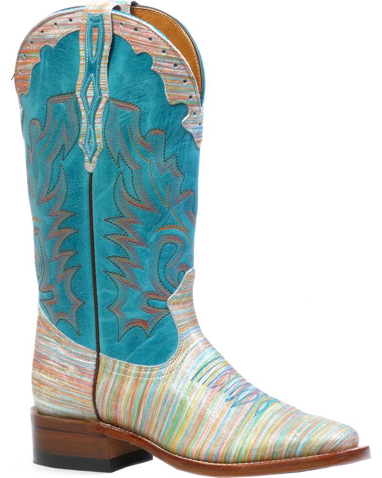 Boulet Natasha Carmin West Turqueza Cowgirl Boots - Square Toe, Multi, hi-res