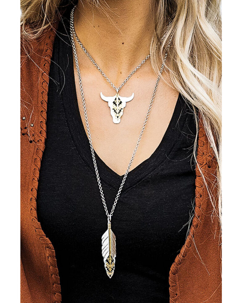 Montana Silversmiths Women's Sedona Ranch Steer Skull Feather Necklace, Silver, hi-res