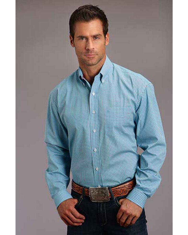 Stetson Men's Blue Circuit Geo Print Long Sleeve Western Shirt , Blue, hi-res