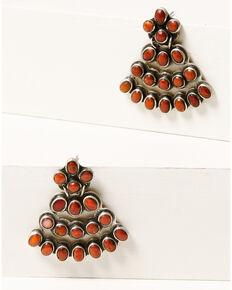 Double D Ranchwear Women's Coral Beaded Chandelier Earrings, Coral, hi-res