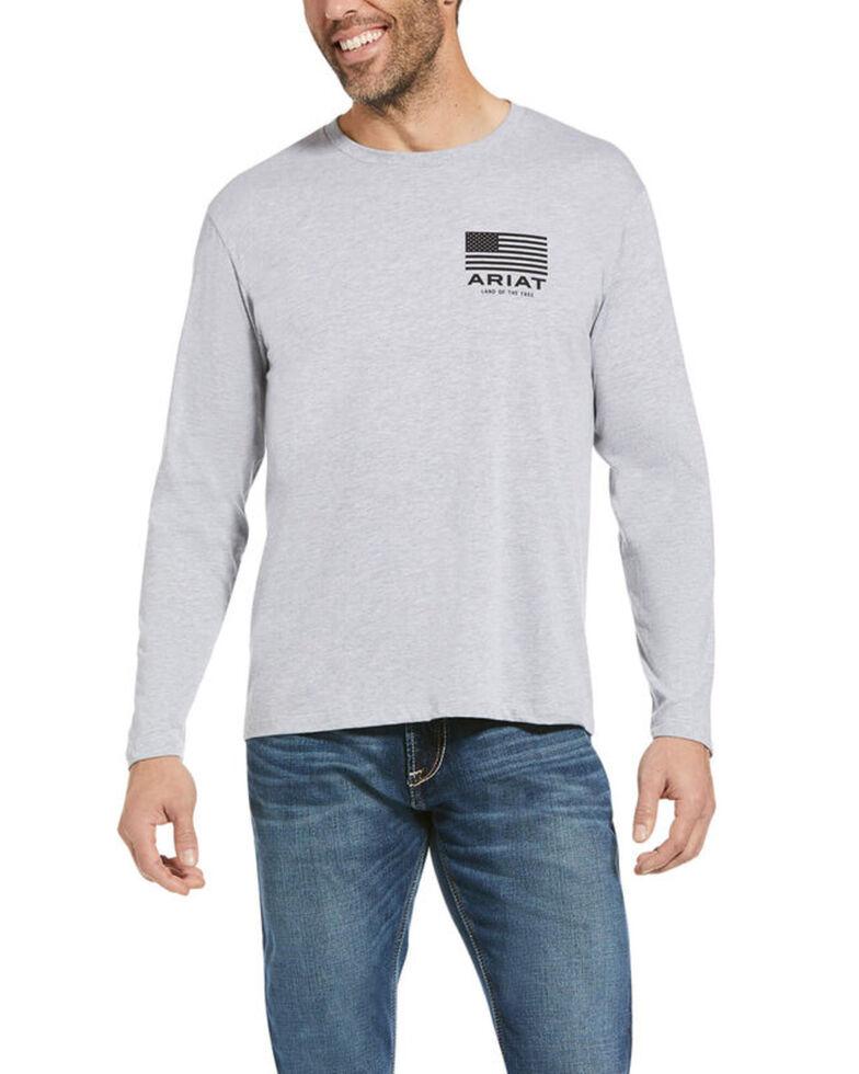 Ariat Men's Grey USA Wings Graphic Long Sleeve T-Shirt, Grey, hi-res