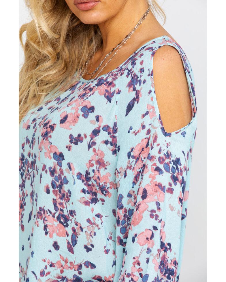Ariat Women's Zahara Cold Shoulder Top, Aqua, hi-res