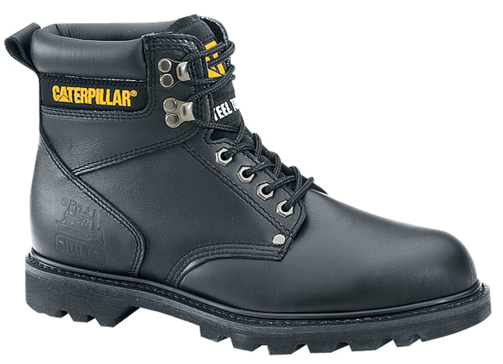 """Caterpillar 6"""" Second Shift Lace-Up Work Boots - Steel Toe, Black, hi-res"""