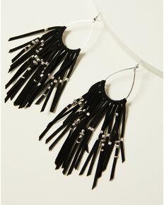 Idyllwind Women's Black & Love Drop Fringe Earrings, Black, hi-res