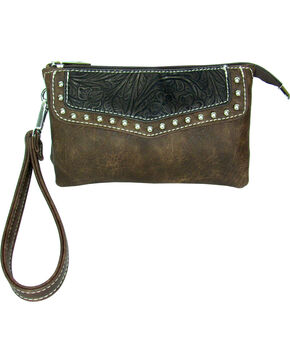 Savana Women's Faux Leather Clutch Zip Wristlet , Brown, hi-res