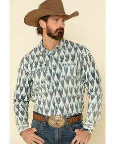 Rock & Roll Denim Men's Ikat Aztec Print Long Sleeve Western Shirt , White, hi-res