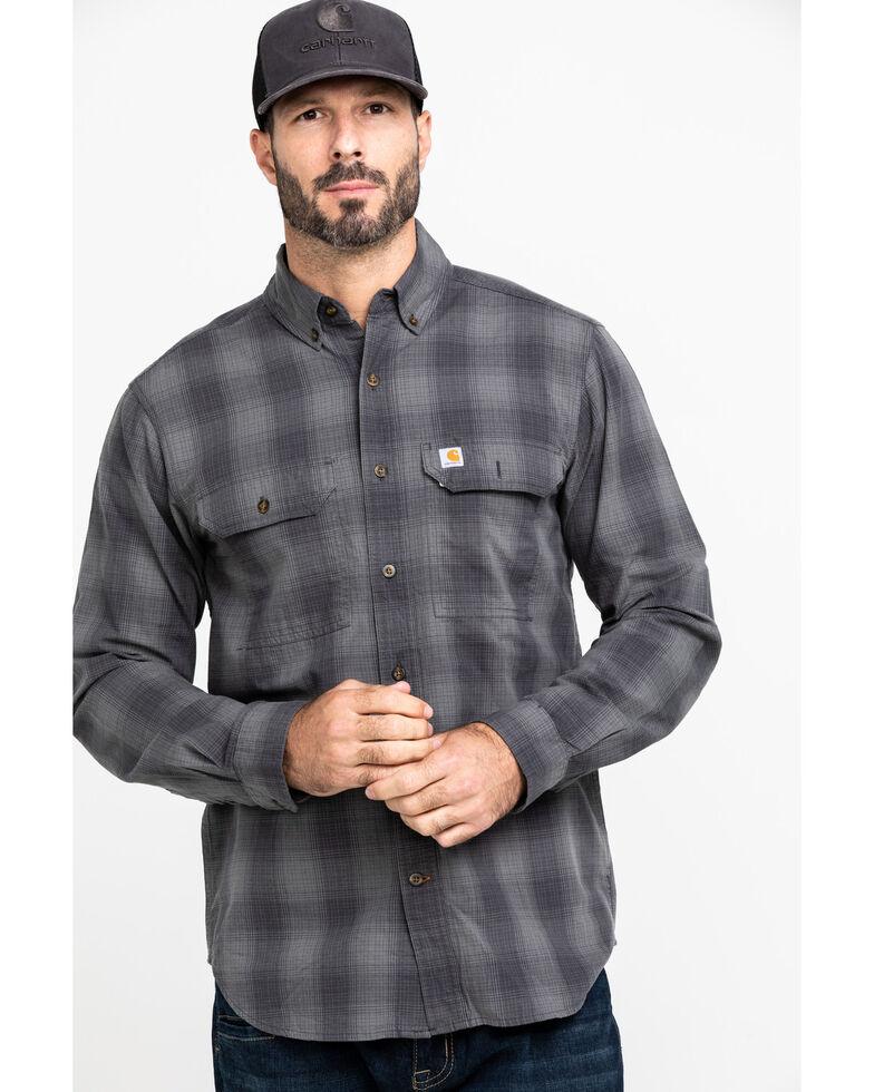 Carhartt Men's Grey Fort Plaid Button Long Sleeve Work Shirt - Big, Grey, hi-res
