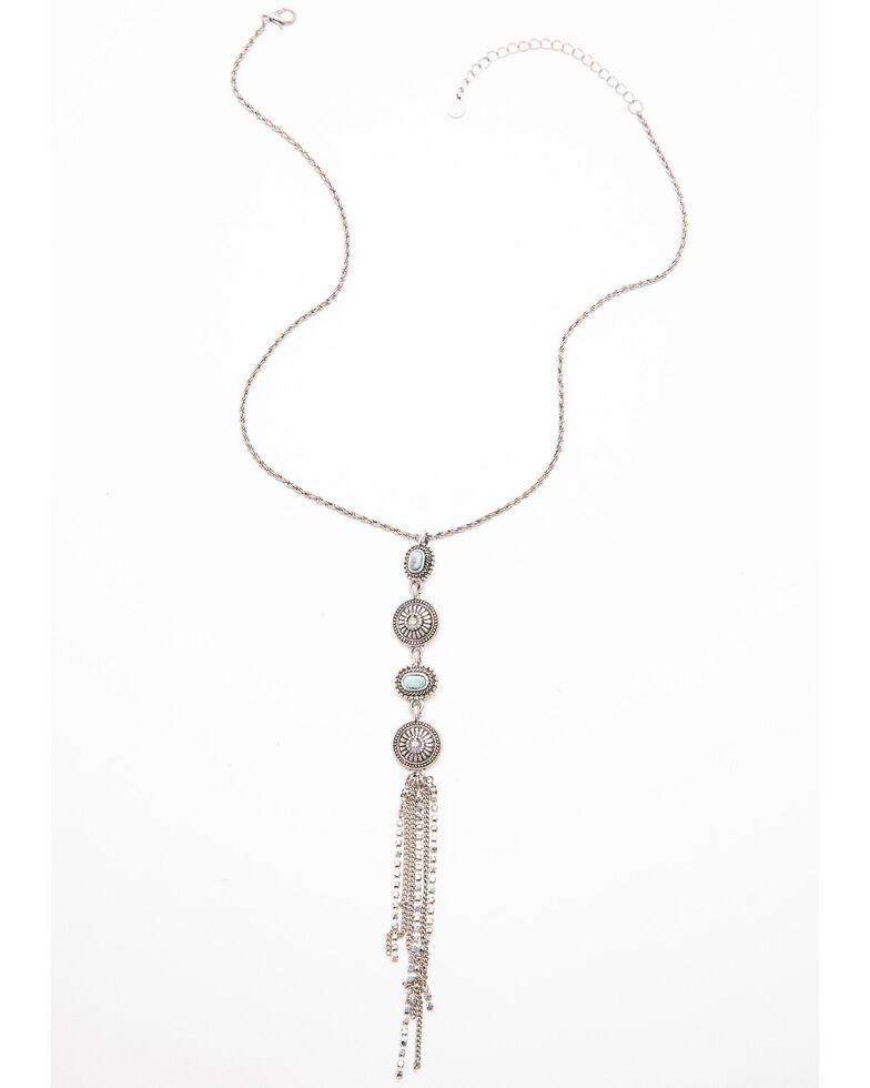 Shyanne Women's Autumn Linear Multi Concho Fringe Necklace , Silver, hi-res