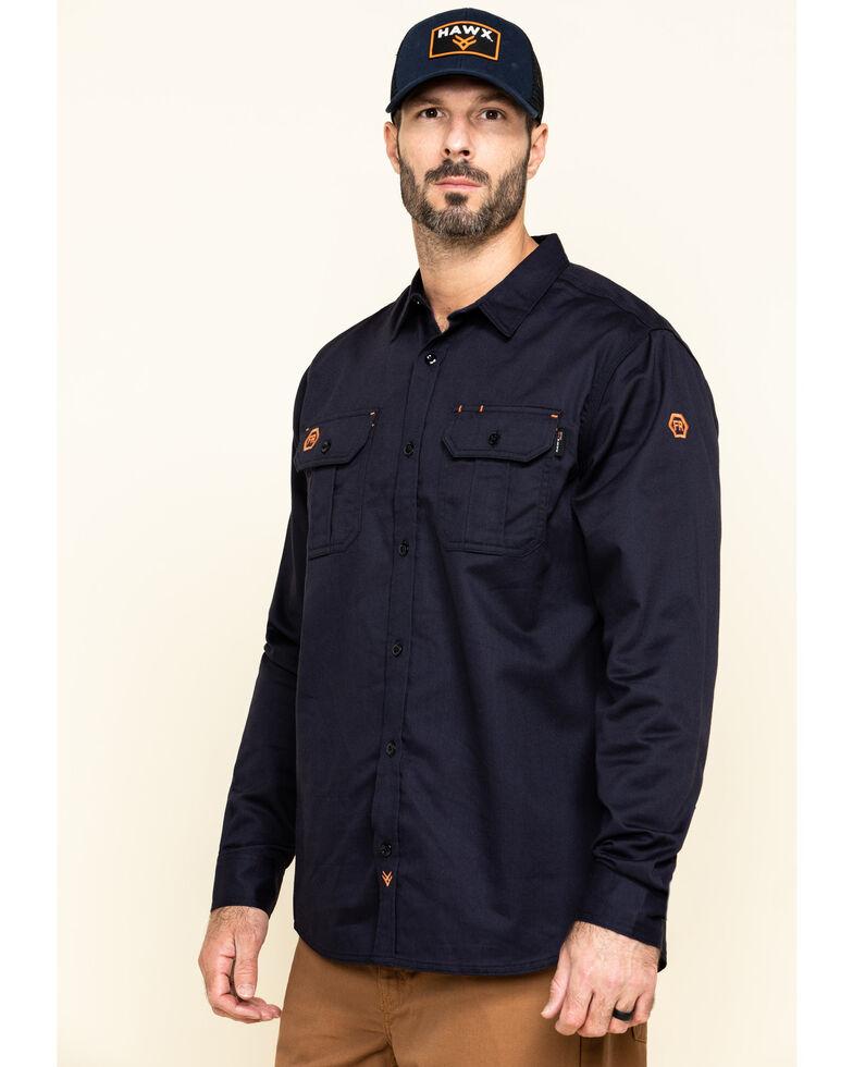 Hawx Men's Navy FR Long Sleeve Woven Work Shirt , Navy, hi-res