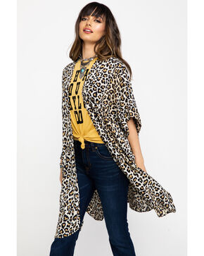 Angie Women's Leopard Print Kimono, Leopard, hi-res