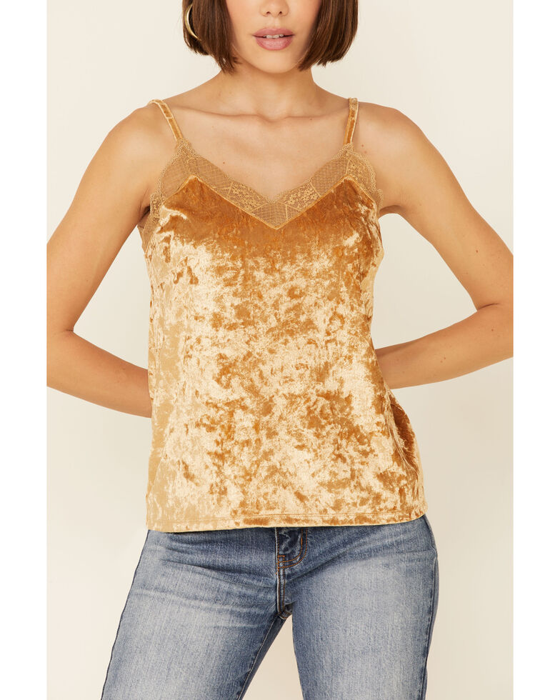 Rock & Roll Denim Women's Gold Velvet Lace Trim Cami , Gold, hi-res
